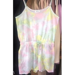 Pastel tie-dye romper Sz S New without tags